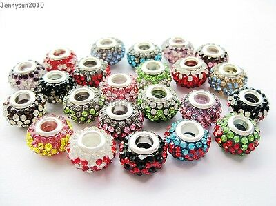10pc Quality Czech Crystal Rhinestones Flower Beads Fit European Bracelet Charm