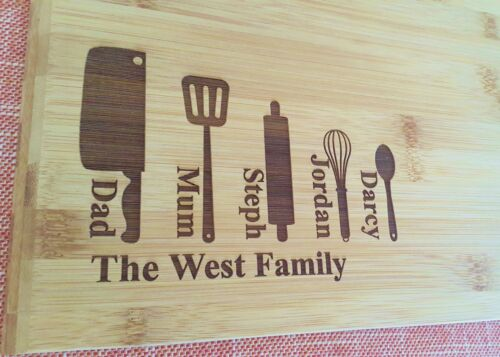 Family chopping board wooden bamboo Mothers day,house-warming Personalised
