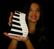 TIMMY WOODS PIANO Keyboard Black White Acacia Wood CLUTCH Purse MINAUDIERE &COIN