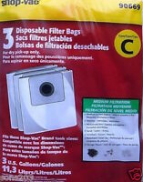 3 Vacuum Bags, Genuine Shop Vac Type C Disposable Canister Part 906-69-00
