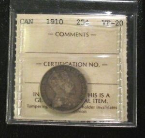 OLD-CANADIAN-COINS-1910-CANADA-TWENTY-FIVE-CENTS
