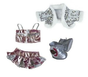 Teddy-Clothes-fits-Build-a-Bear-Bling-Dance-Outfit-amp-Silver-Boots-Bears-Clothing