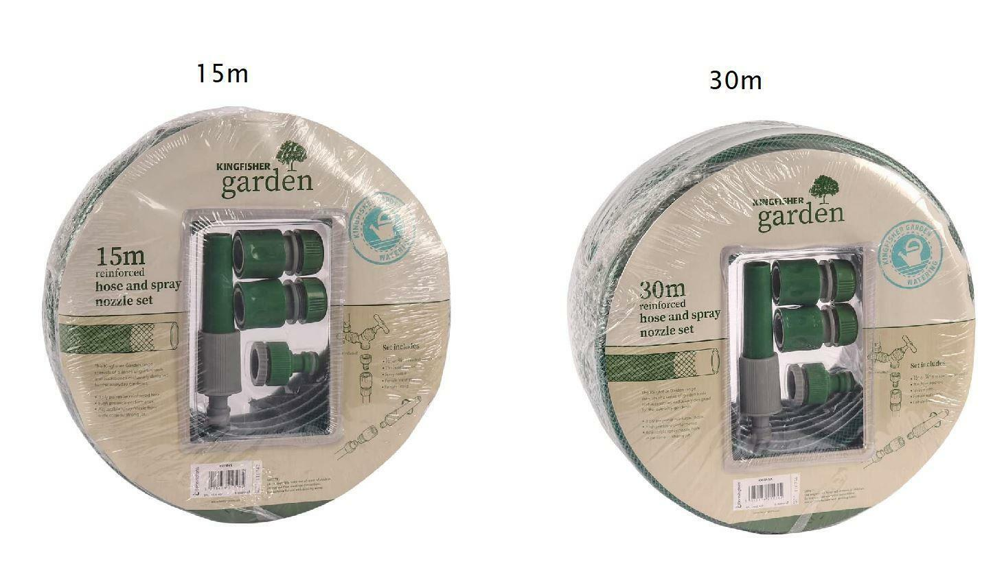 15m / 30m Reinforced Hose & Spray Nozzle Set Pipe Garden Watering Plants