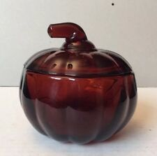 Rare Vintage Amber Glass Pumpkin Shaped Lidded/Covered Candy Dish