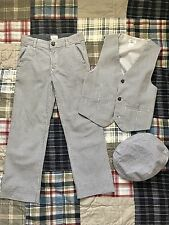 Gymboree All Dressed Up Boys Seersucker Suit Medium Size 7-8 with Hat