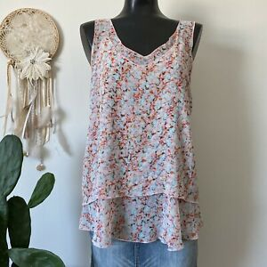 Small Womans CABI $86 Modern Bella 5032 Tiered Layered Airy Floral Tank Top