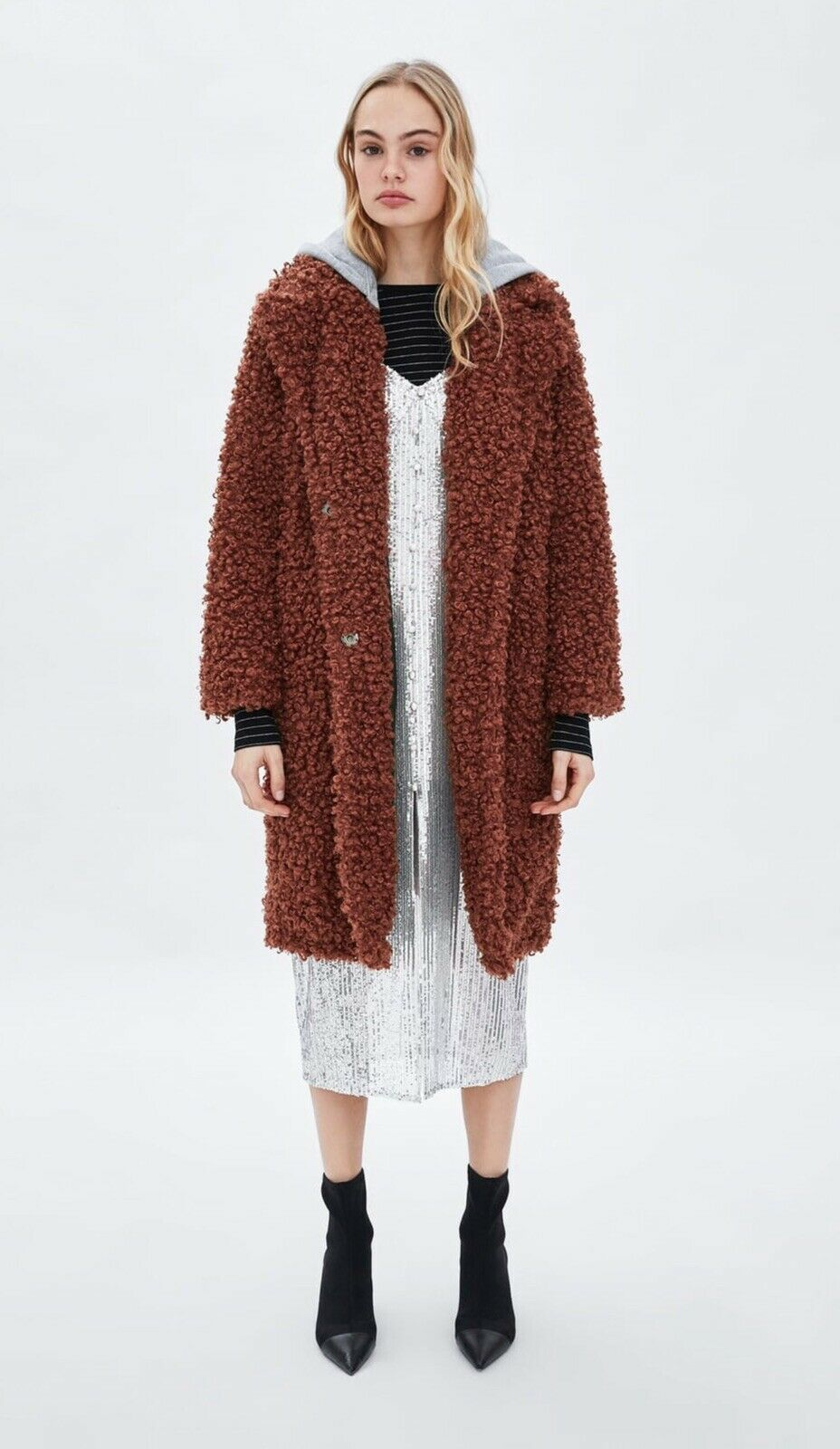 NWT ZARA AW18 CONTRASTING HOODED FAUX SHEARLING MEDIUM RED orange 4341 213 675