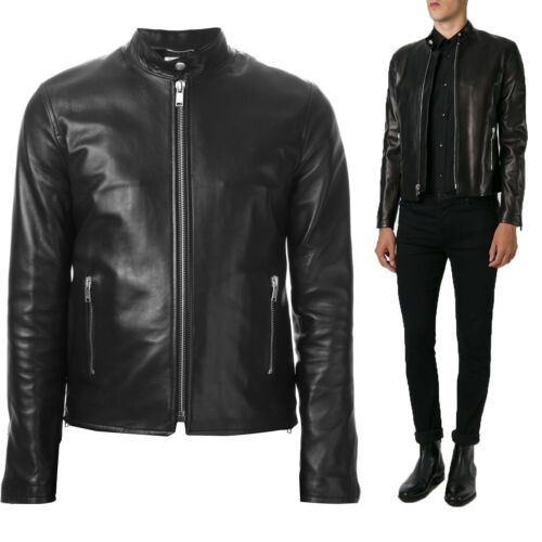 ★Giacca Giubbotto Uomo in di PELLE 100/% Men Leather Jacket Veste Homme Cuir R50a