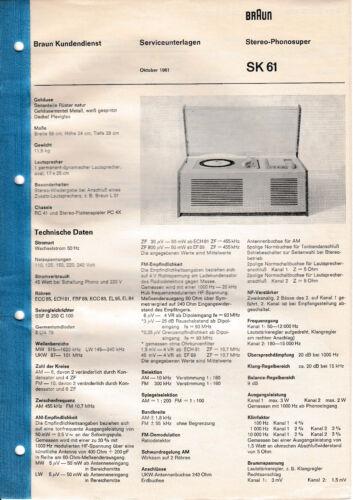 TV, Video & Audio Service Manual-Anleitung fr Braun SK 61 ...