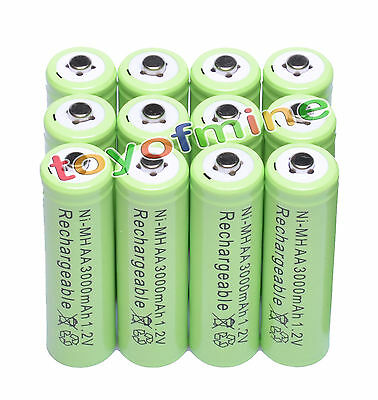 12x AA 1.2V 3000mAh Ni-MH rechargeable battery 2A cell /RC Green