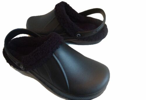 Kitchen Fur Mules Clogs Black Slippers Furry Walking Dog Chefs Lined Shoes Full Fq0wrOF