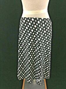 Tabloid-skirt-size-13-14-black-white-polka-dot-stretch-waist-A-line-below-knee
