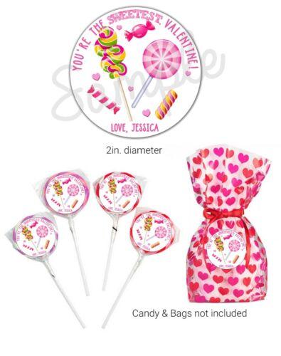 40 SWEETEST lollipop candy Valentine/'s Day STICKERS school CUSTOM valentine