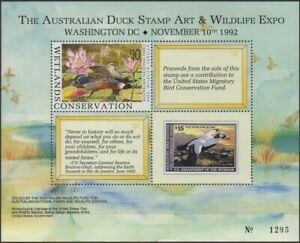 Australia-Cinderella-Ducks-1992-Duck-Stamp-Art-and-Wildlife-Expo-MS-MNH