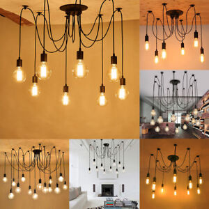 Retro Industrial Hanging Light Lamp DIY Spider Chandelier Ceiling ...