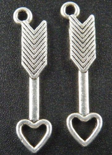 100pcs Tibetan Silver Cupid/'s arrow Charms 30x7x2mm ZN46725