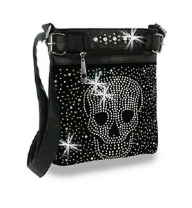 Details About Handbag Express Black Studs Iridescent Rhinestones Skull Crossbody Purse Sling