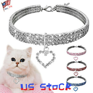 Rhinestone-Puppy-Dog-Collars-Jeweled-Crystal-Kitten-Cat-Necklace-Charm-Pendant