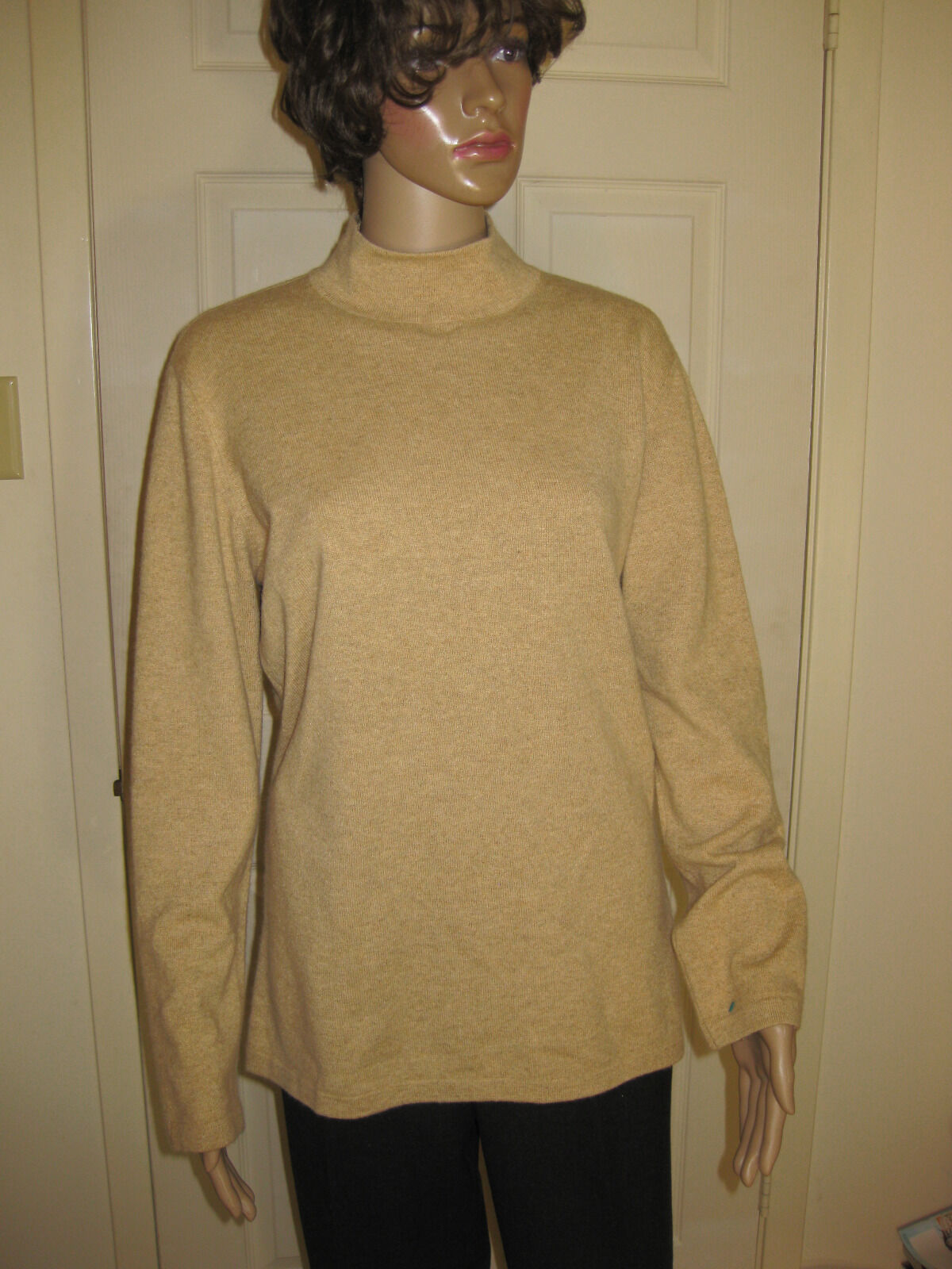 Escada Sz 44 (14) Camel Heather New Wolle Cashmere Silk Blend LS Mock Turtle Neck