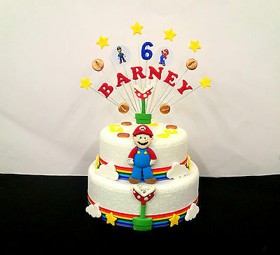 Peachy Package Super Mario Birthday Cake Topper And Loose Cake Decoration Personalised Birthday Cards Veneteletsinfo