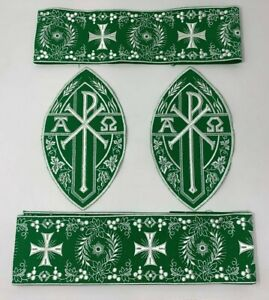 A-amp-o-Px-Cruz-Emblems-Banda-Vestment-Blanco-Rayon-Verde-5PCS-Lote-Paquete