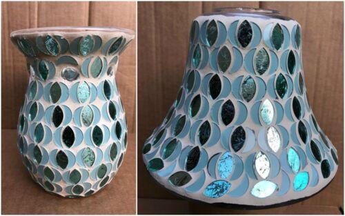 Handcrafted Mosaïque Bougie Pot Ombre et brûleur-Blue Mosaic