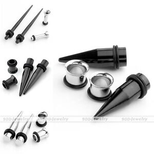 2-pair-Stainless-Steel-Taper-Stretcher-Flared-Ear-Tunnel-Stretching-Set-Kits
