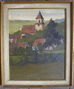 OLGEMALDE-KIRCHE-DORF-JUGENDSTIL-ART-DECO-RICHARD-ALBITZ-ZUGESCHRIEBEN-KPT