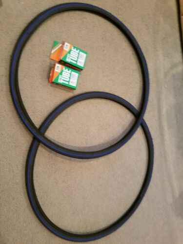 TWO Tubes Road Fixie Black//Blue 2 DURO 700x25C BLUE LINED BICYCLE TIRES