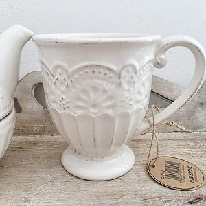 set of 6 ivory cream vintage style shabby french chic coffee cup mug kitchen ebay. Black Bedroom Furniture Sets. Home Design Ideas