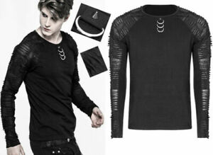 Ripped t-shirt top gothic punk destroy metal Dring spike trendy PunkRave Men
