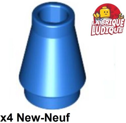 4x Cone 1x1 with Top Groove bleu//blue 4589b NEUF Lego