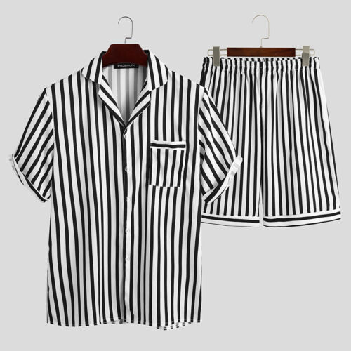 Mens Womens Short Sleeve Striped Loose Pajamas Set Top Shorts Loungewear Pjs Pj