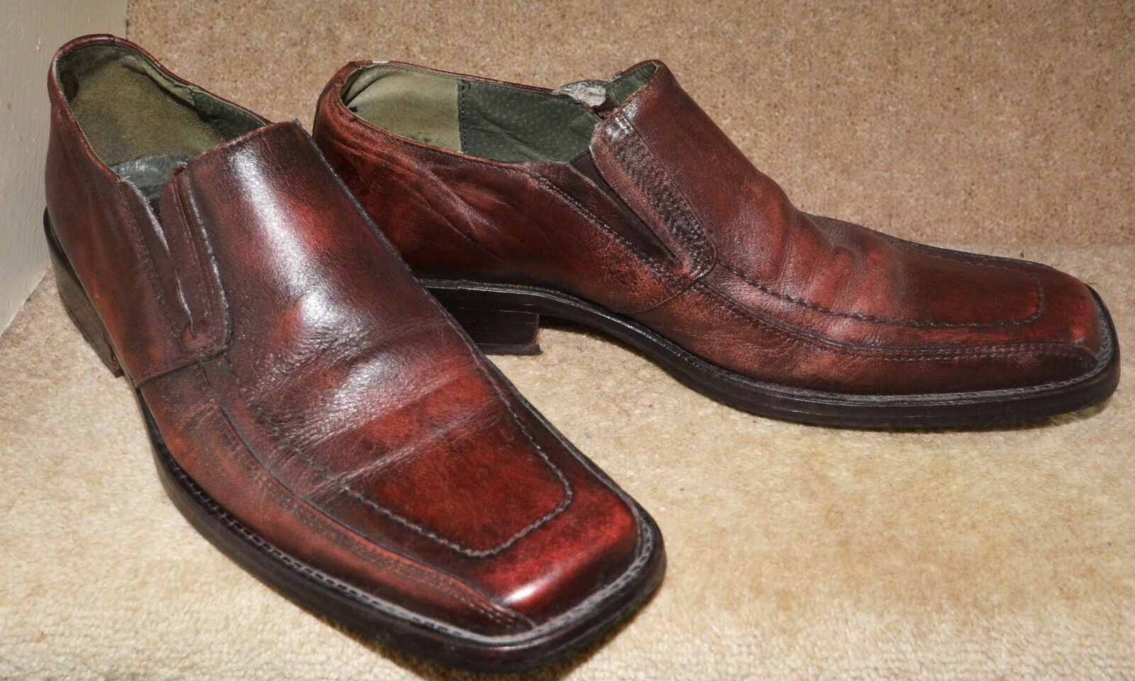 Men's Frank Wright Shoes Brown Size Tan Leather Slip On Size Brown 9 Classic Square Toe 79f48c