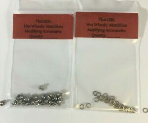 "2 LOTS HOT WHEELS MODIFYING ACCESSORIES 50 Pcs #2-56X 3/16"" SCREWS 50 #2 WASHERS"