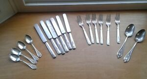 1847 Rogers Bros. Old Colony Silver Plate  18 Pc Knives, Forks, Spoons No Mono.