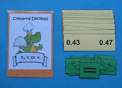 Teacher Made Math Center Resource Game Comparing Decimals
