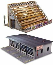 """1:87 Scale """"Four Stall Pit Garage & Bleachers"""" Photo Real Scale Building Kits"""