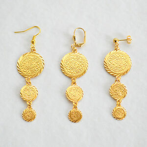 24k Gold Plated Coin Earrings Middle East Arabic Jewelry Drop Dangle