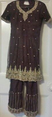 Asiatico Indiano Pakistano Matrimonio Festa Pantaloni Kameez Taglia 8/10-mostra Il Titolo Originale