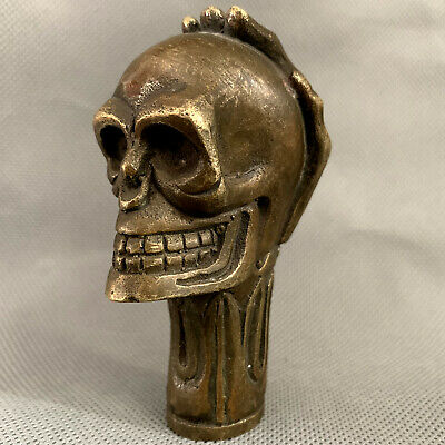 Antique Victorian Bronze Hand Carved skull Statue Cane Head Walking Stick Head