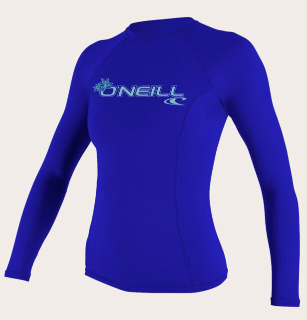 6a798325f5 O'Neill Women's Basic Skins UPF 50 Long Sleeve Rash Guard Tahitian Blue  Large