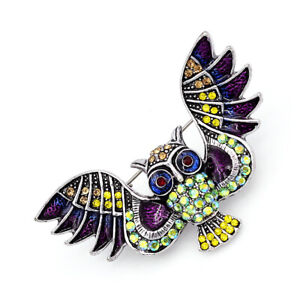 Betsey-Johnson-Enamel-Crystal-Owl-Charm-Women-039-s-Animal-Brooch-Pin-Jewelry-Gift