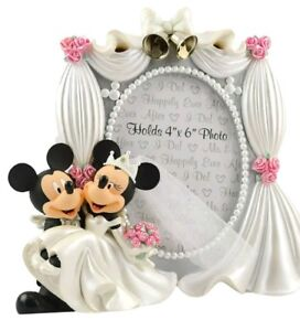 Disney Parks Exclusive Mickey Minnie Mouse Bride Groom Wedding 4x6 Photo Frame