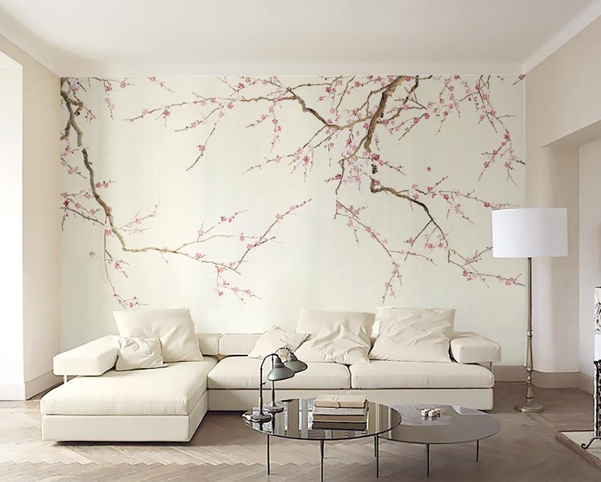 Papel Pintado Mural De Vellón Rama De Árboles Flores 2 Paisaje Fondo De Pantalla