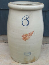 Antique Vintage 6 Gallon Red Wing Union Stoneware Butter Churn