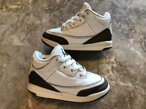 5d62df05c90 2001 Nike Air Jordan 3 III Retro Mocha White Dark Rare Toddler Size ...