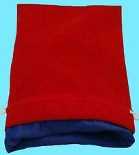 RED VELVET & LUXURY SATIN BLUE Lining DICE BAG NEW 6x8 Storage Pouch MDG Silk