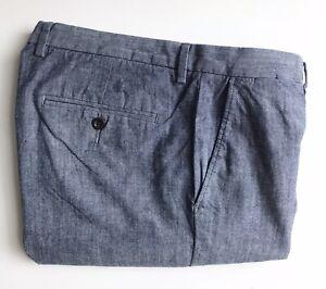 J. Crew Pants / Chinos, 34 x 32, Chambray Blue, Slim, 100% Cotton, EUC