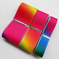 "15Yards Mix Size 5/8"" 1"" 1 1/2"" Rainbow Color Grosgrain Ribbon Craft Hair Bow"